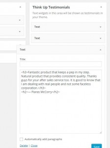 Simple text widget with markup stored in Think Up! Testimonials sidebar.